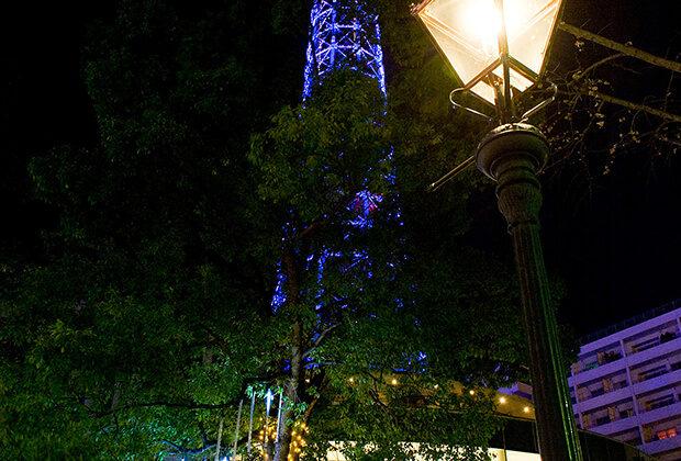 Yokohama Marine Tower lit up at night