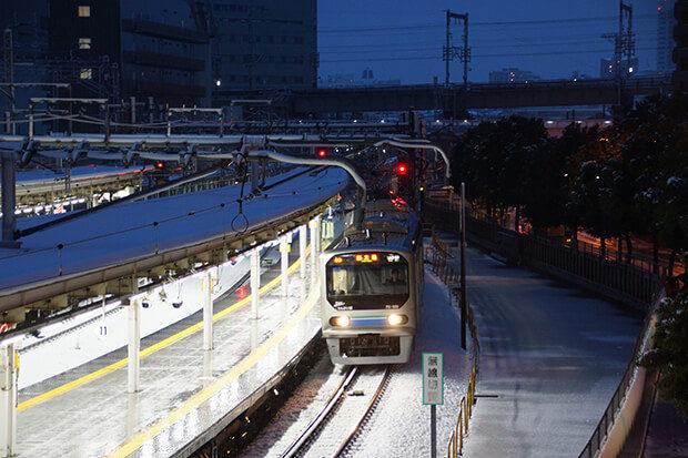 สถานีโอซากิในหิมะ