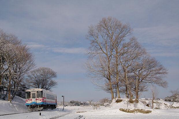冬の雪景色の中を走る